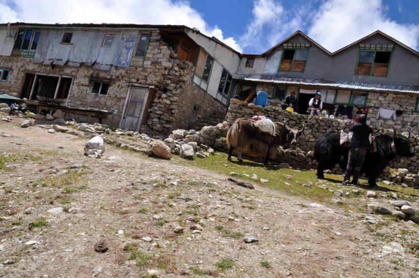 Erdbebenschäden in Lobuche
